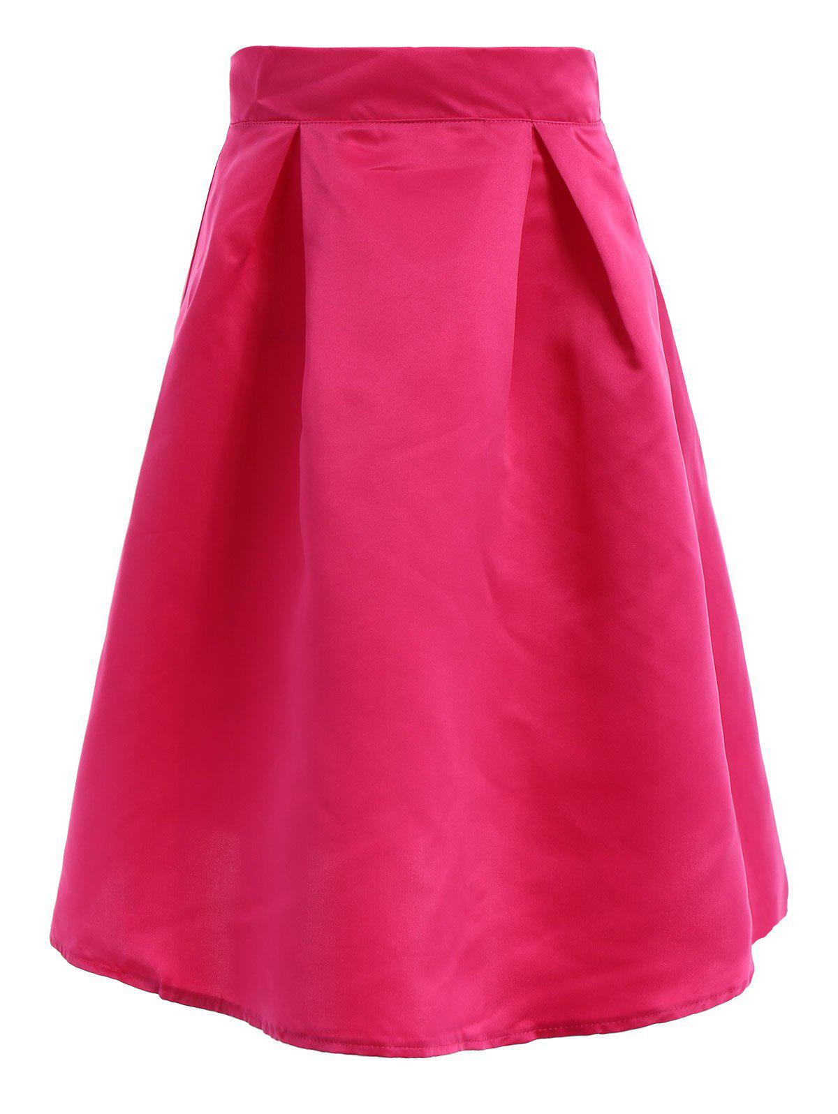Endearing High Waist Candy Color Pleated Maxi Skirt For Women - ROSE S