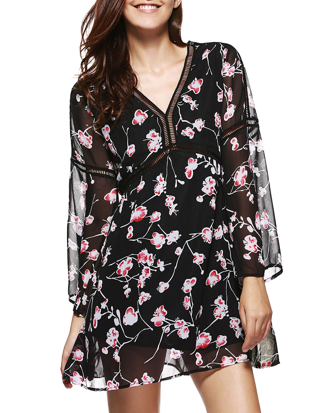 V Neck Floral Print Chiffon Dress - BLACK 2XL