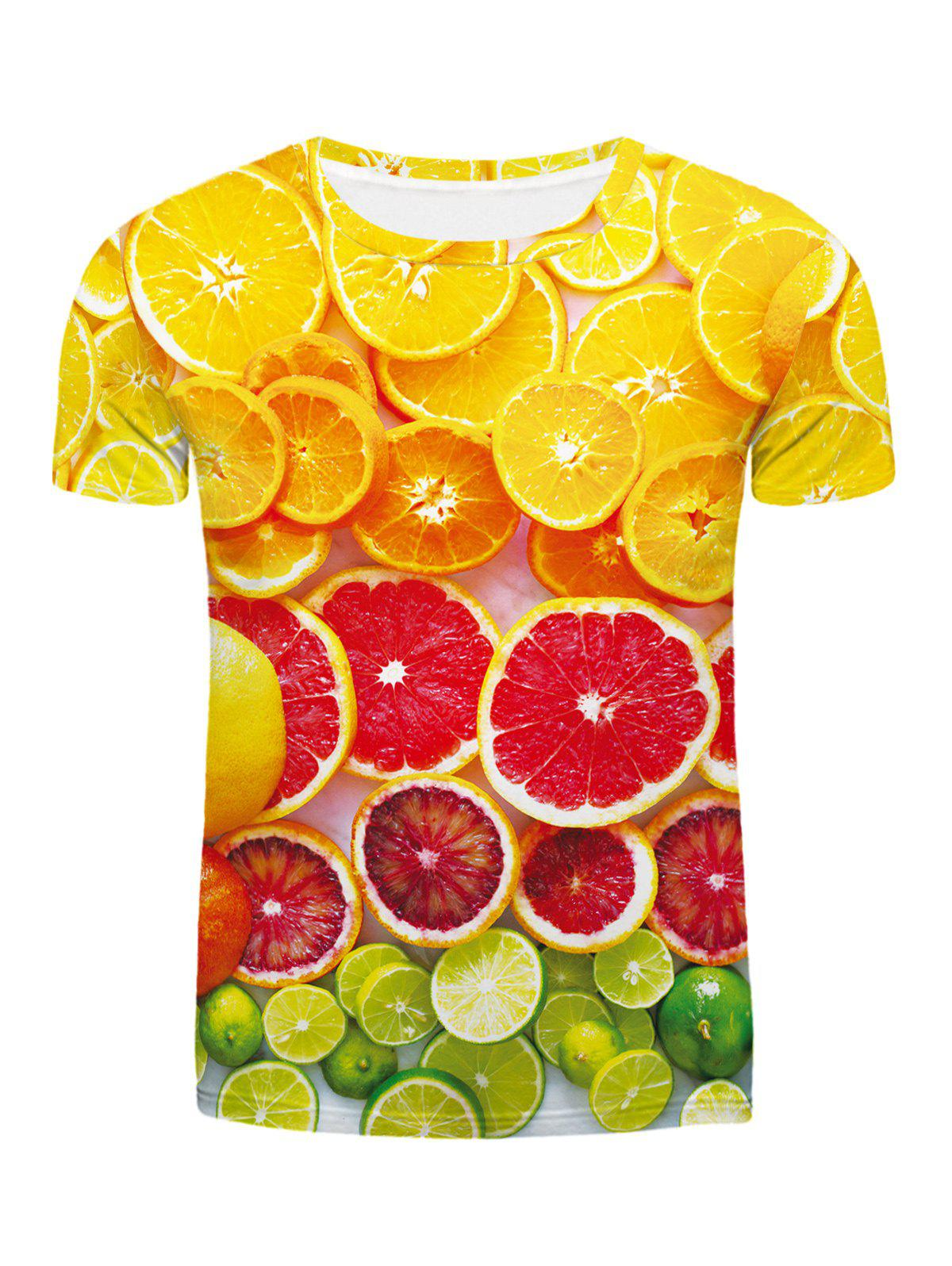 Fashion Round Neck Orange Pattern Fitted Men's Short Sleeves 3D Printed T-Shirt - COLORMIX 2XL