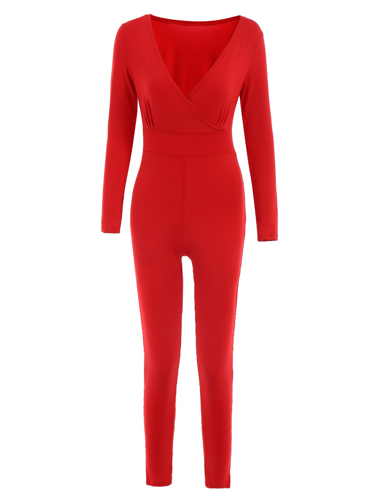 Sexy Red Plunging Neck Long Sleeve Jumpsuit For Women, RED, L in ...