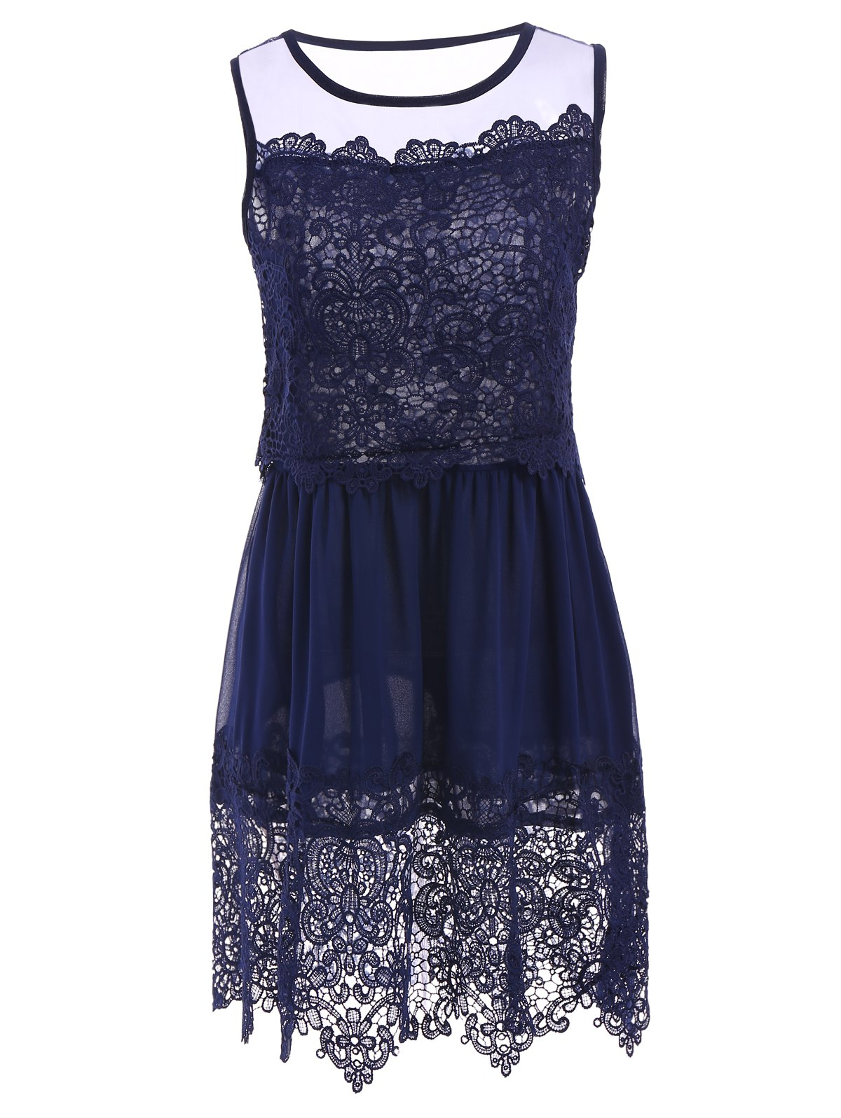 Sleeveless Jewel Neck Crochet Lace Dress For Women - DEEP BLUE S