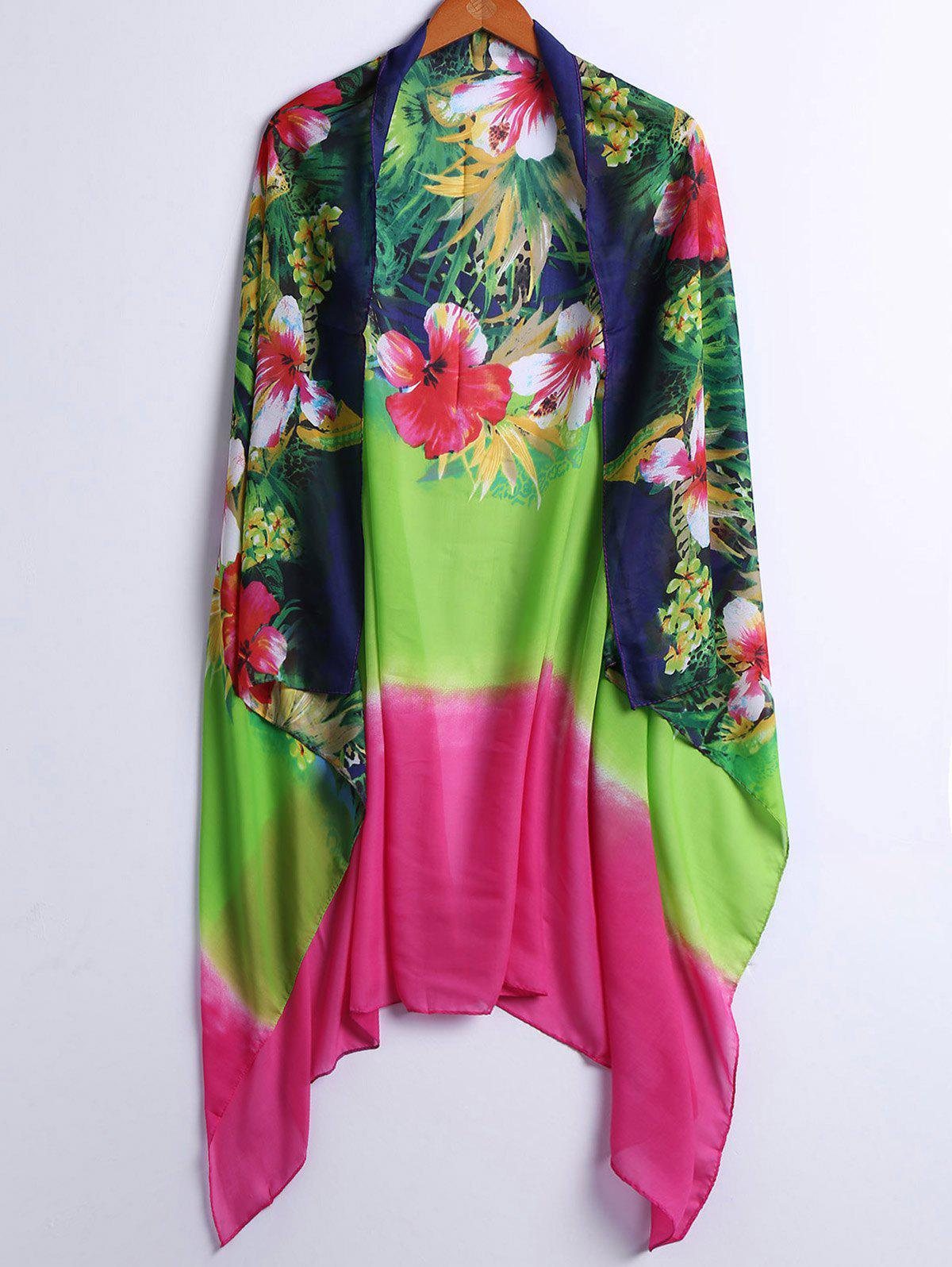 Fashionable Floral Print Women's Cover-Up - COLORFUL ONE SIZE(FIT SIZE XS TO M)