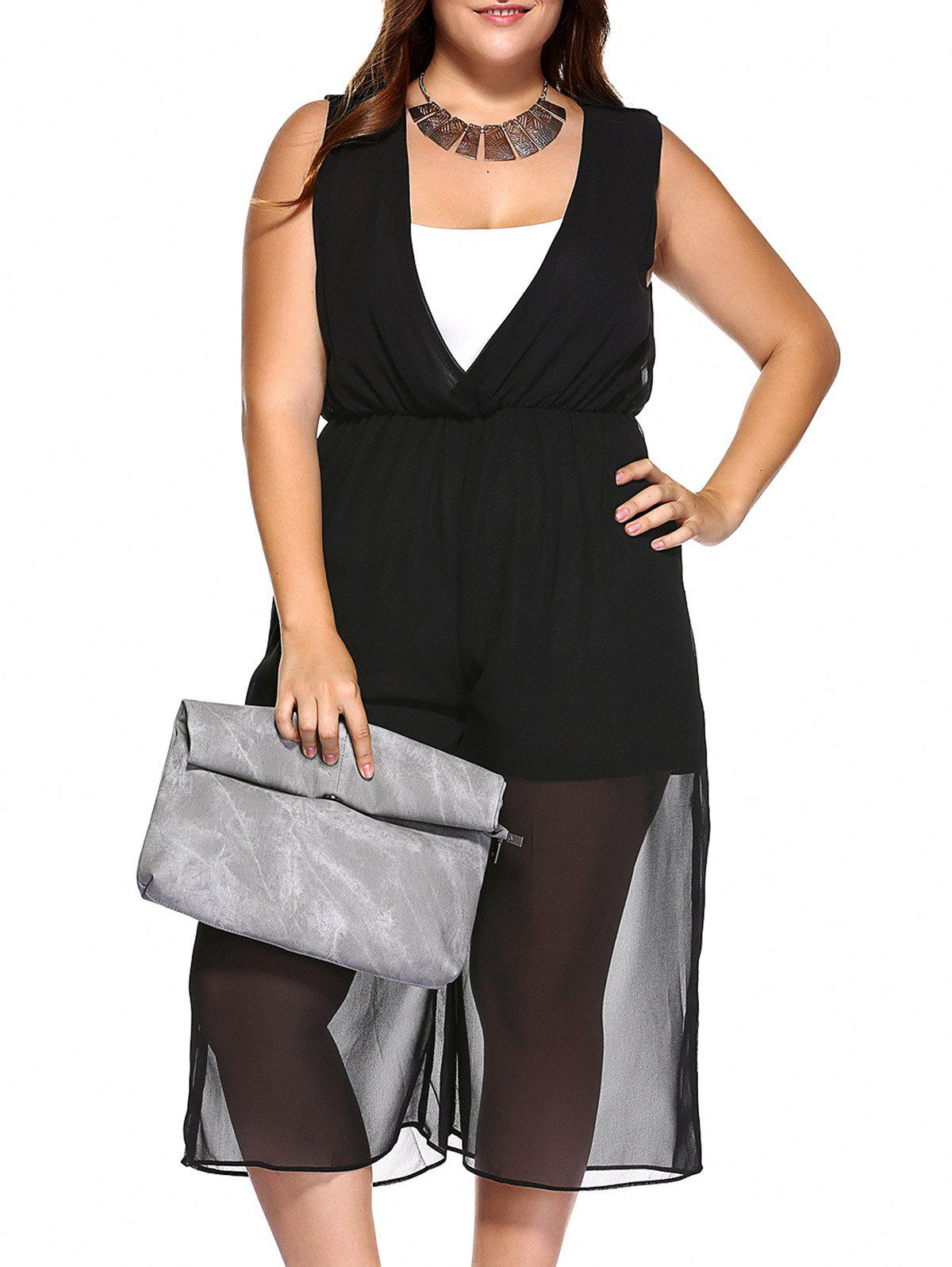 Plus Size V Neck Wide Leg Jumpsuit and Camisole - BLACK 5XL