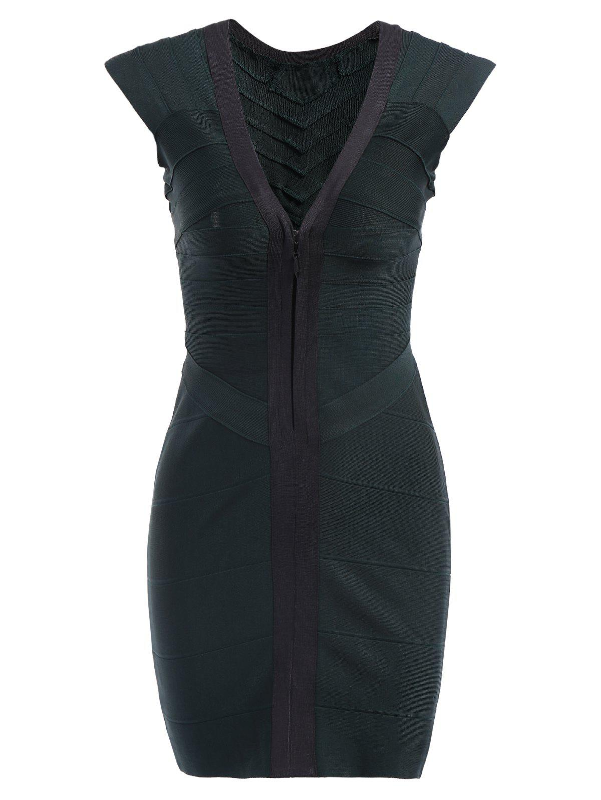 Women's Charming Color Splicing Zipper Front Low-Cut Slimming Bandage Dress