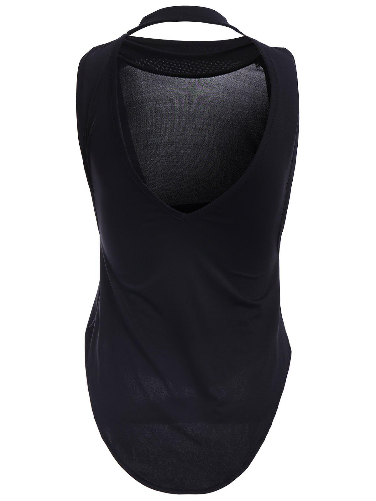 Sexy Women's Round Neck Solid Color Backless Tank Top - BLACK M