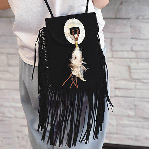 Stylish Magnetic Closure and Feather Design Women's Crossbody Bag - BLACK