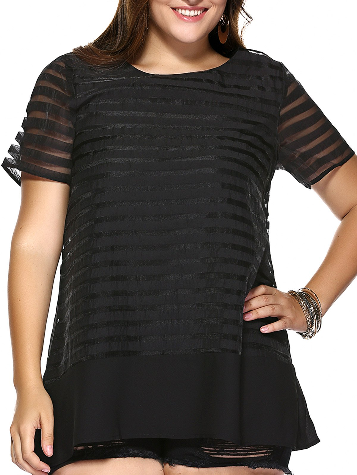 Sweet Style Plus Size Pure Color Striped Women's Organza Dress - BLACK XL