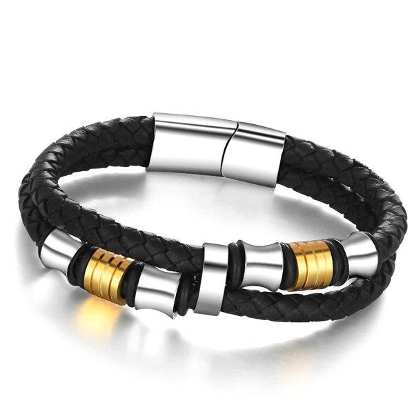 Magnetic Button Woven Rope Bracelet - BLACK