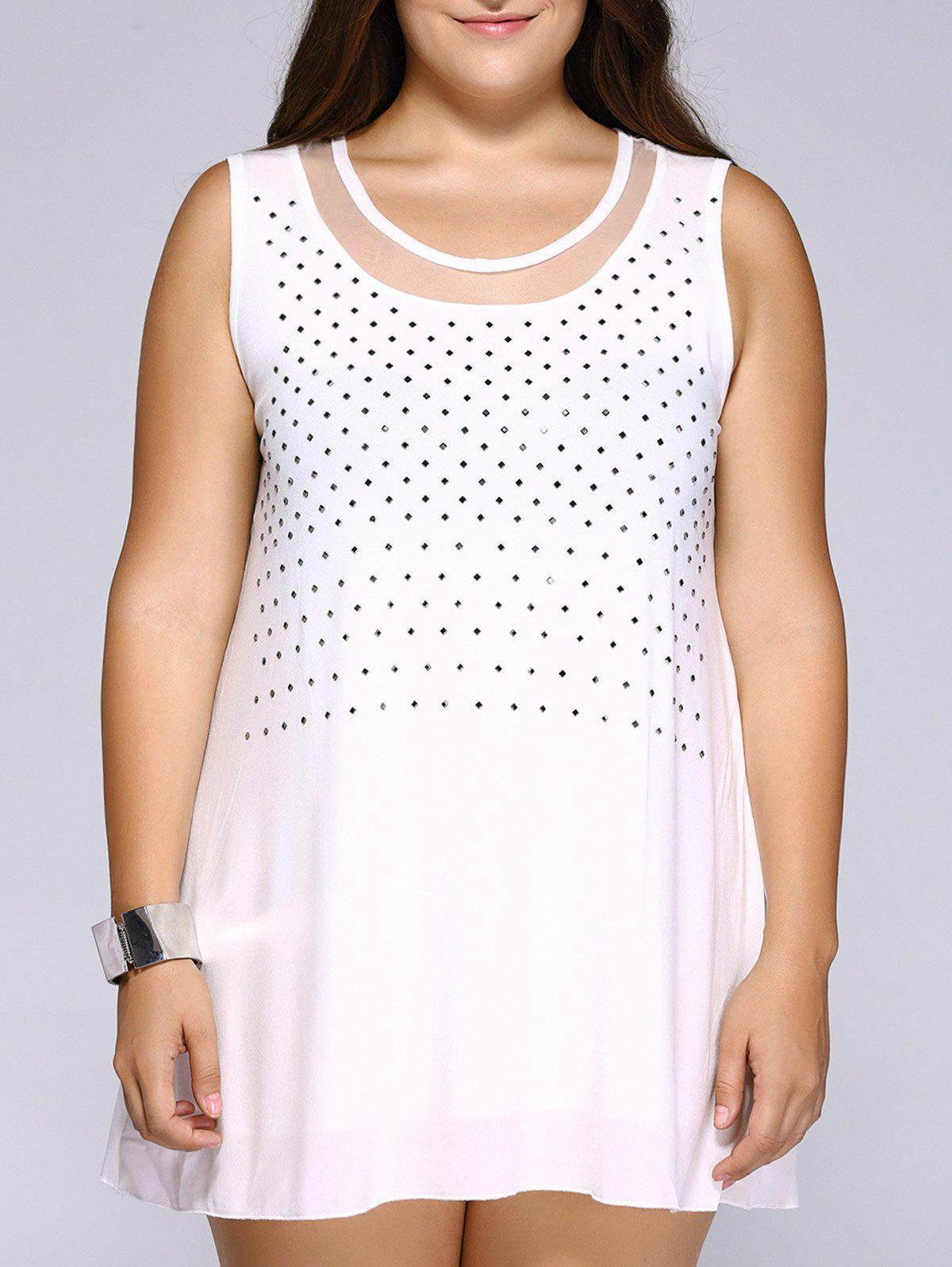 Stylish Plus Size Rhinestoned Mesh Patchwork Women's Tank Top - WHITE 2XL