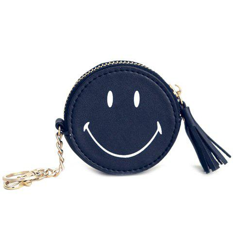 Casual Smiling Face and Tassels Design Women's Coin Purse - BLACK