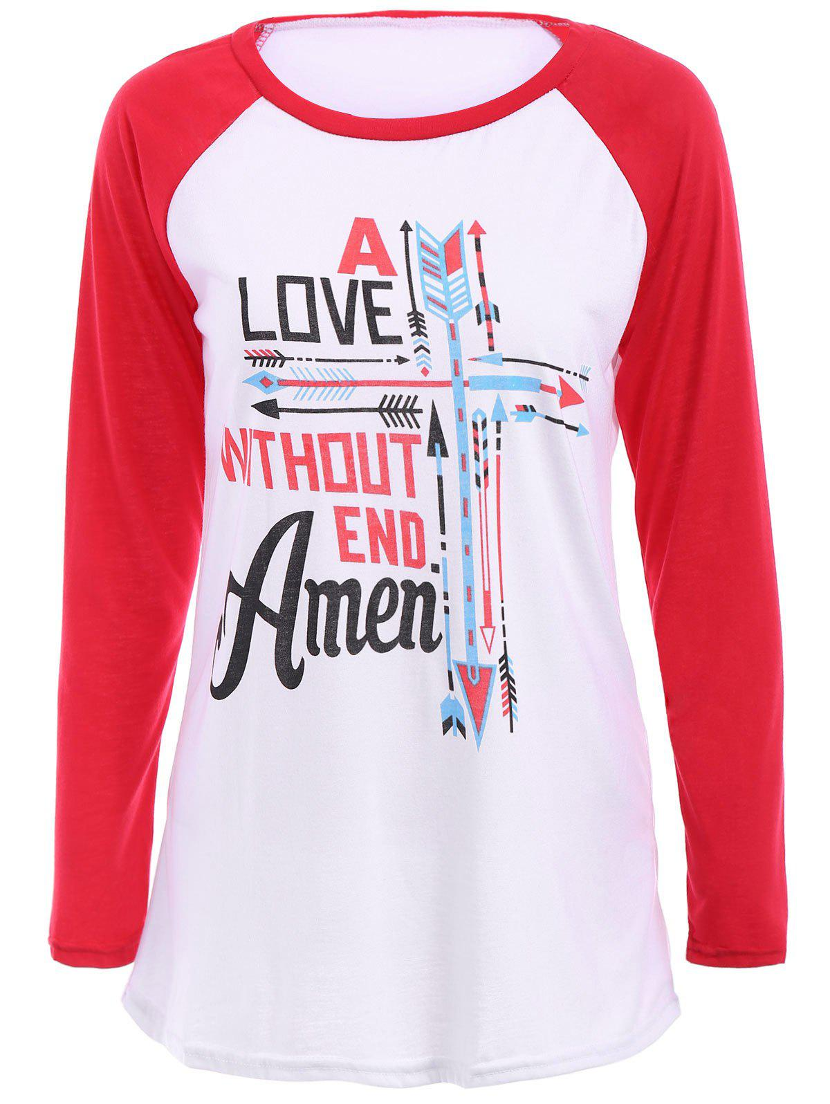 Casual Long Sleeve Round Collar Color Block Letter and Arrows Print Women's T-Shirt - RED S