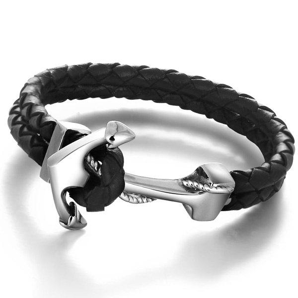 Faux Leather Anchor Woven Rope Bracelet -  BLACK