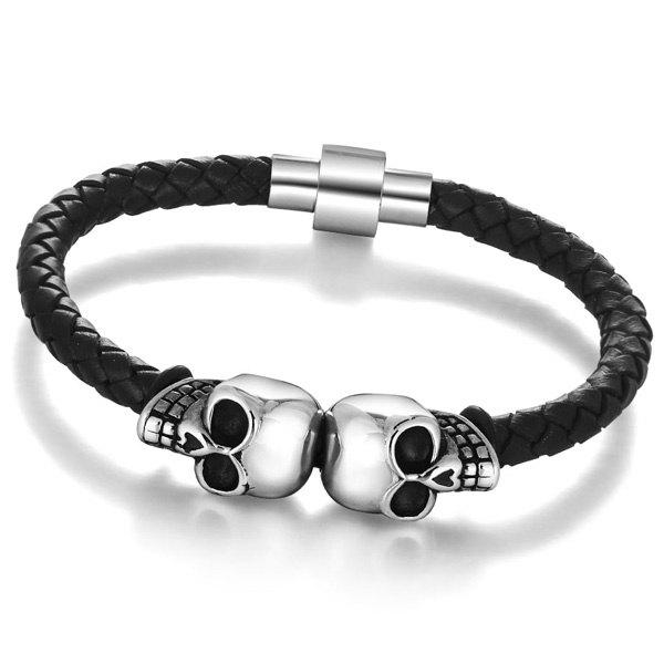 Chic Artificial Leather Skull Woven Rope Bracelet For Men
