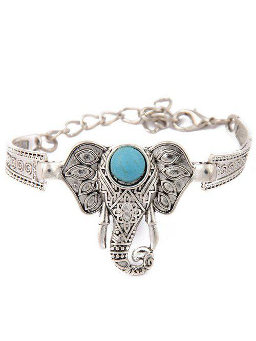Gorgeous Faux Turquoise Emboss Elephant Bracelet For Women
