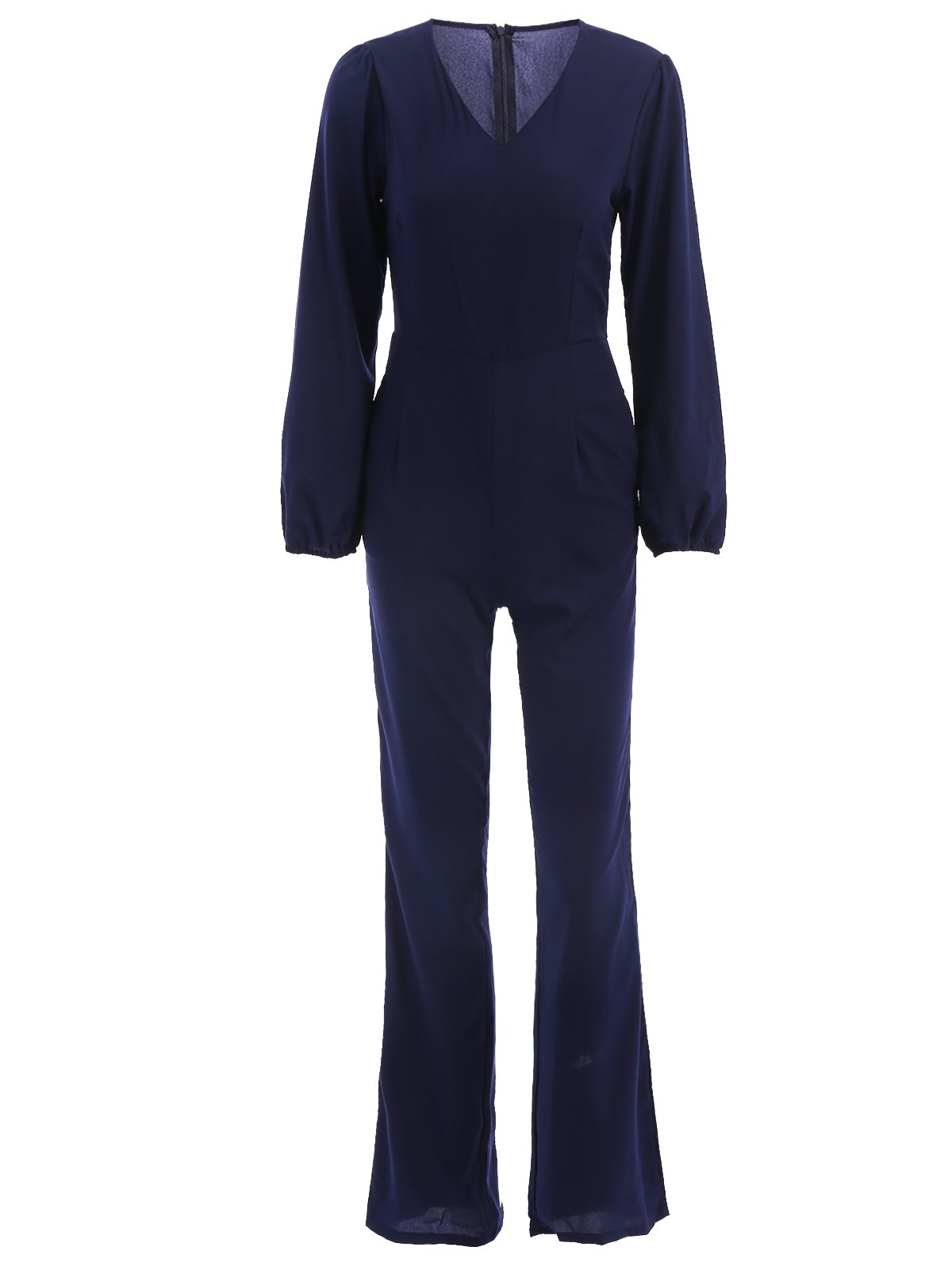 Stylish V-Neck Long Sleeve Loose-Fitting Solid Color Women's Jumpsuit - M DEEP BLUE