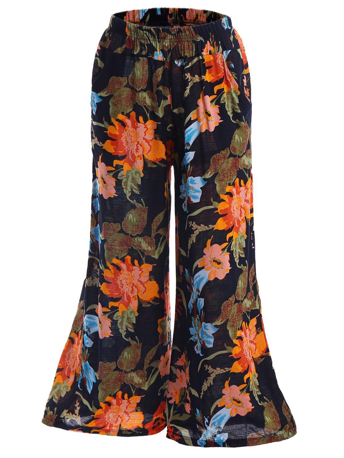 Vintage Style Elastic Waist Colorful Flower Pattern Loose-Fitting Womens Palazzo PantsWomen<br><br><br>Size: ONE SIZE(FIT SIZE XS TO M)<br>Color: COLORMIX
