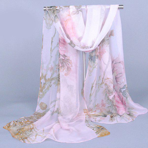 Chic Flourishing Big Peony Printed Comfortable Women's Chiffon Shawl Wrap Scarf