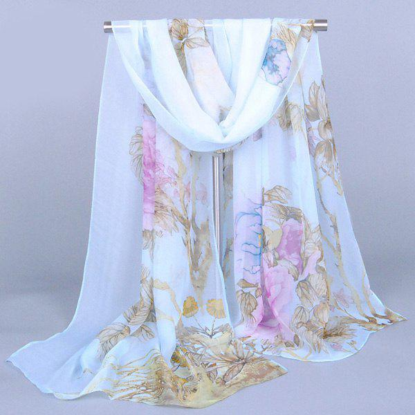 Chic Flourishing Big Peony Printed Comfortable Women's Chiffon Shawl Wrap Scarf - LIGHT BLUE