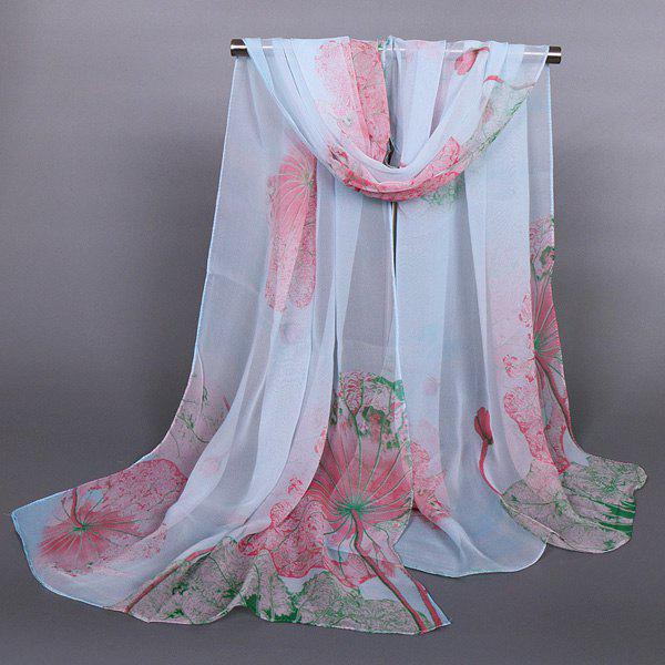 Chic Flourishing Lotus Pattern Comfortable Women's Chiffon Shawl Wrap Scarf - LIGHT BLUE