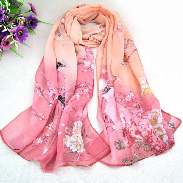 Chic Magpie and Flower Pattern Comfortable Women's Chiffon Shawl Wrap Scarf - PINKBEIGE