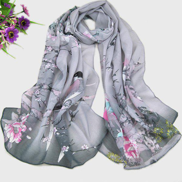 Chic Magpie and Flower Pattern Comfortable Women's Chiffon Shawl Wrap Scarf - GRAY