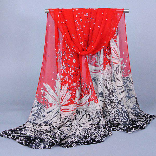 Chic Doodle Dandelion Pattern Comfortable Women's Chiffon Shawl Wrap Scarf - RED