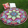 Ethnic Style Bikini Boho Swimwear Eight-Square Flower Grass Mat and Satin Round Beach Throw Scarf - RED