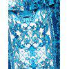High Waist Blue and White Porcelain Sheath Skirt - BLUE L