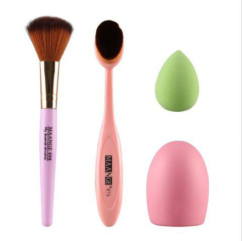Cosmetic 4 Pieces / Set Blush Brush + Pinceau Poudre + Powder Puff + Brushegg - Rose