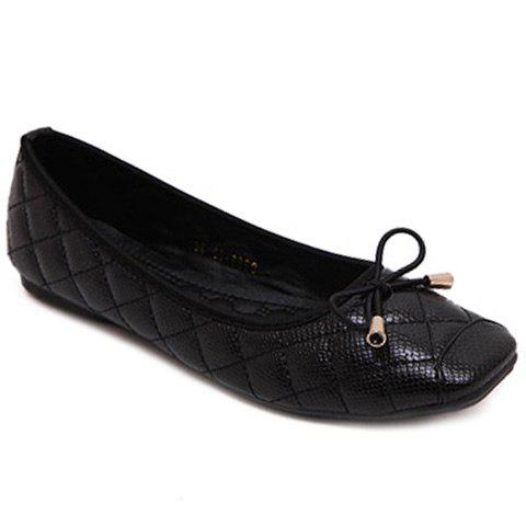 Sweet Checked and Square Toe Design Women's Flat Shoes - BLACK 39