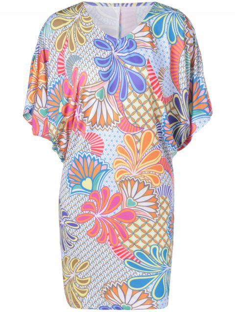 Casual Batwing V-Neck Dress With Floral Print For Women - COLORMIX M