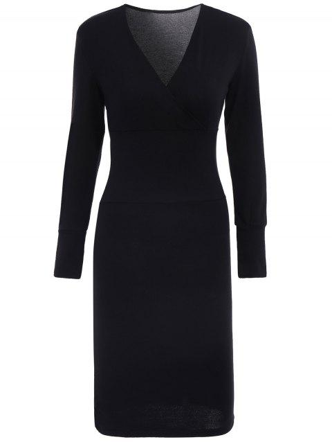 Elegant Crossed V-Neck Long Sleeve Solid Color Bodycon Midi Dress For Women - BLACK M