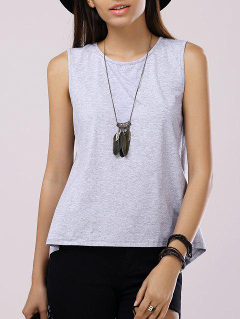 Fashionable Women's Round Neck Sleeveless Back Split Back Split Tank Top - LIGHT GRAY M