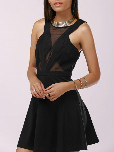 Femme à la mode d  'Gaze Splice Cut-Out Drees - Noir XL