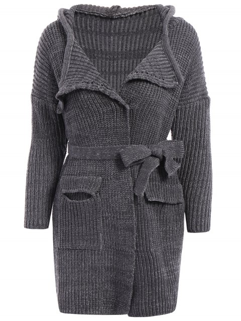 db4fd9ef14 Stylish Hooded Long Sleeve Pocket Design Solid Color Women s Belted  Cardigan - GRAY ONE SIZE(