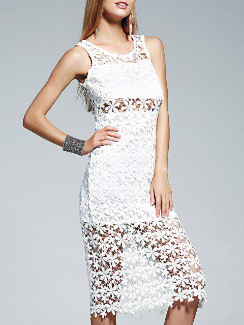 Lace Crochet See Through Midi Dress - WHITE L