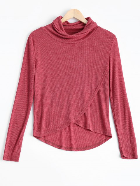 Cowl Neck Asymmetric Sweatshirt Pure Color - Latérite L