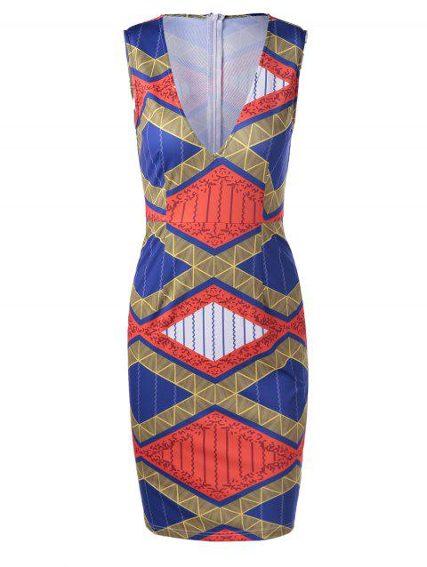 Ethnic Style Women's Fitted V-Neck Geometric Print Dress - EARTHY M