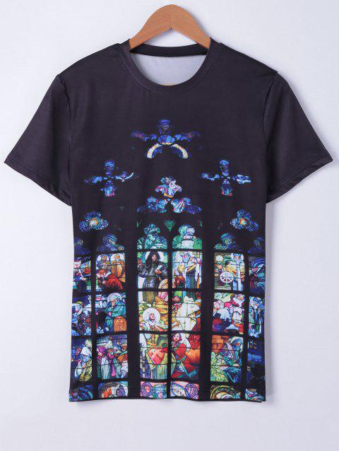 Fashionable Round Neck Oil Painting Printing Short Sleeves T-Shirt For Men - BLACK L