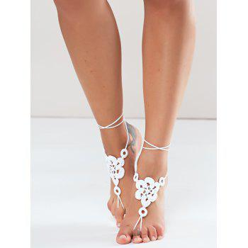 Pair of Gorgeous Solid Color Floral Woven Sandal Toe Ring Anklet -  WHITE