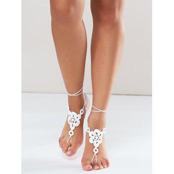 Pair of Gorgeous Solid Color Floral Woven Sandal Toe Ring Anklet - WHITE WHITE