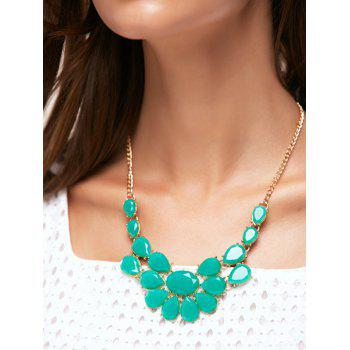 Faux Gem Water Drop Shape Geometric Necklace