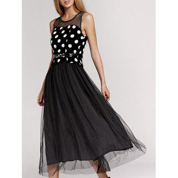 Sweet Gauze Spliced Polka Dot Sleeveless Pleated Dress For Women