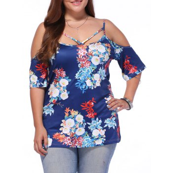 Buy Chic Off-The-Shoulder Criss-Cross Floral Print Women's Plus Size Blouse PURPLISH BLUE