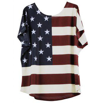 Star Pattern Striped Lady's T-Shirt
