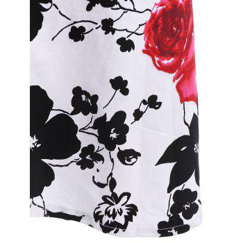 Vintage Flower Print Halter Sleeveless Dress For Women - BLACK/WHITE/RED S