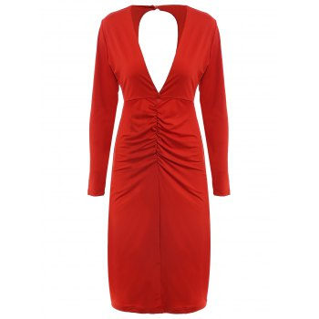 Long Sleeve Plunging Neck Cut Out Pure Color Dress For Women
