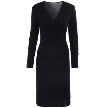 Elegant Crossed V-Neck Long Sleeve Solid Color Bodycon Midi Dress For Women
