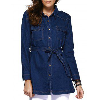Stylish Shirt Collar Long Sleeve Waist-Controlled Denim Coat For Women