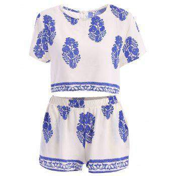 Stylish Round Collar Short Sleeve Crop Top and Elastic Waist Printed Shorts Twinset For Women - WHITE L